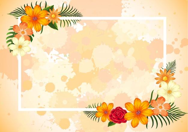 Frame sjabloonontwerp met oranje bloemen