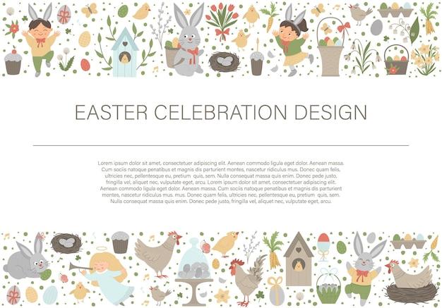 Frame van de horizontale lay-out van pasen met konijntje, eieren en gelukkige kinderen.