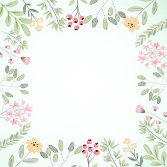 Frame van de waterverf het botanische bloem met exemplaar ruimteillustratie