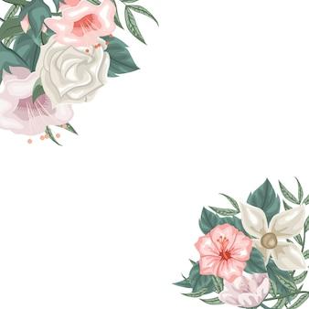 Frame van hibiscusjasmijn en tulpen en rozen