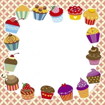 Frame van kleurrijke muffin's