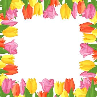 Frame van kleurrijke tulpen