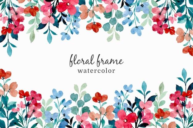 Frame van kleurrijke wilde bloemen met waterverf