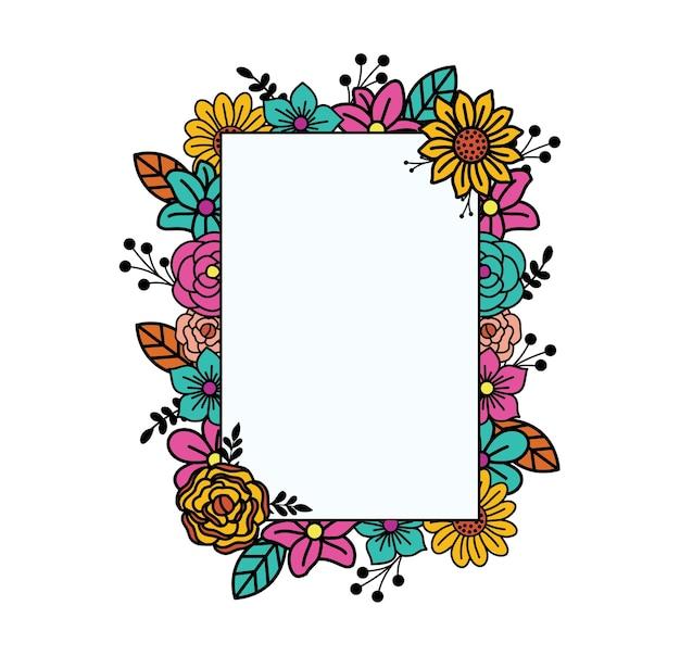 Frame van platte bloemdessin