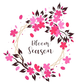 Frame van sakura bloemen op een witte achtergrond. het opschrift bloom season.