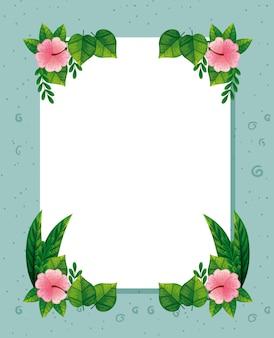 Frame van schattige roze bloemen met bladeren