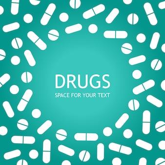 Frame van tabletten en pilleneenvoudige vlakke stijlmedicijnen farmaceutischfarmaciebehandeling