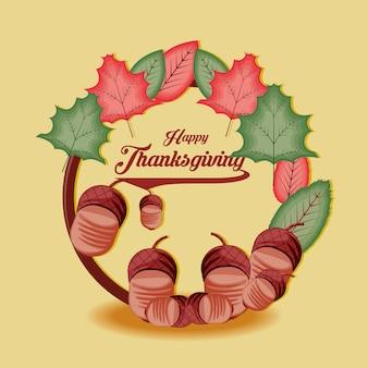 Frame van thanksgiving day met noten en bladeren