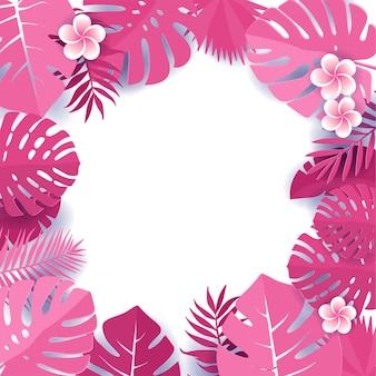 Frame van tropische monsterabladeren met frangipanibloemen. floral caper gesneden ontwerp achtergrond
