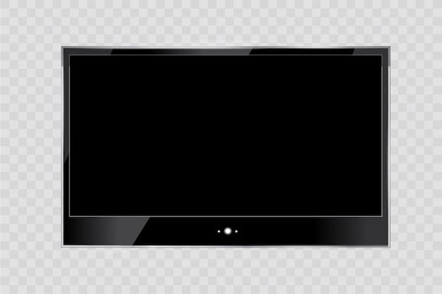 Frame van tv. lege led monitor van computer of zwarte fotolijst geïsoleerd op een transparante achtergrond. leeg scherm lcd, plasma, paneel of tv voor uw ontwerp