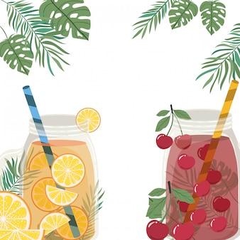 Frame van verfrissend drankje voor de zomer