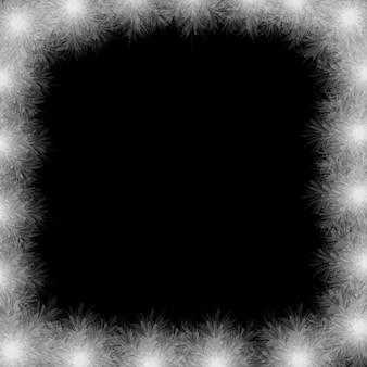 Frame van witte veren op zwarte achtergrond