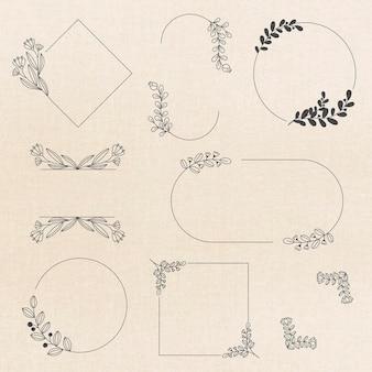 Frame vector in zwarte bloemen ornament stijlenset