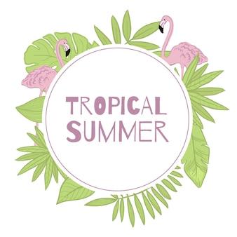 Frame vector tropische zomer. groene bladeren, flamingo.
