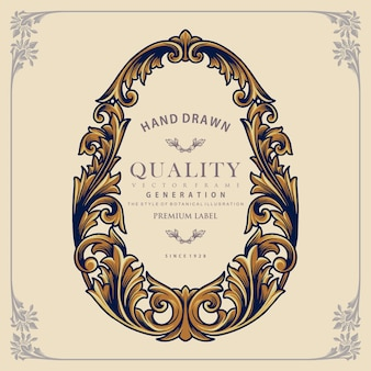 Frame vintage ornament handgetekende label illustraties Premium Vector