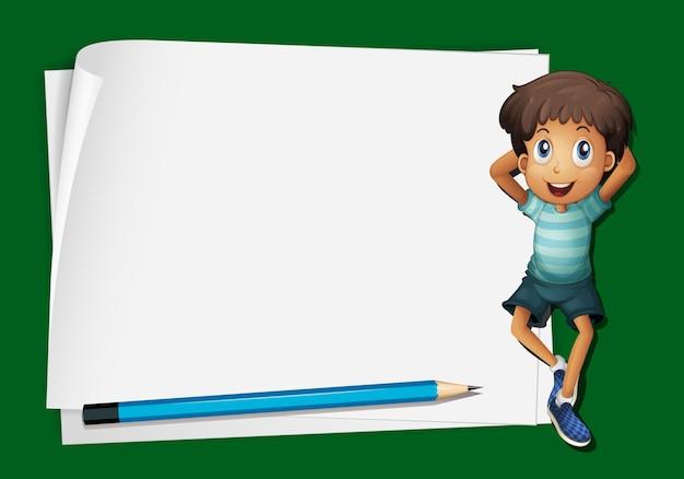Frameontwerp met kleine jongen en potlood