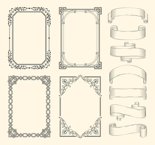 Frames en linten monochroom schets set