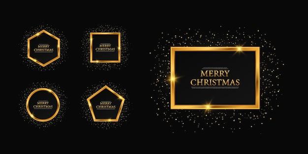 Frames merry christmas wenskaart kerst feestelijke achtergrond met gouden letters