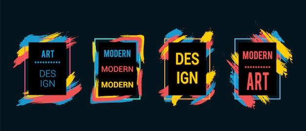 Frames met kleurrijke penseelstreken voor tekst, moderne kunstafbeeldingen, hipsterstijl