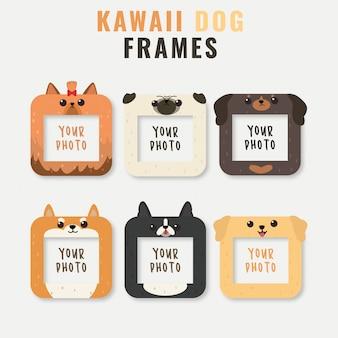 Frames met schattige hond hoofden sjabloon