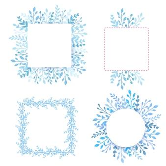 Frames, randen ingesteld met bladeren en blauwe takken. cirkel en vierkant kruiden samenstelling, bosplanten.