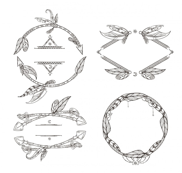 Frames set veren pijlen en andere decoratieve elementen in boho-stijl. kader vintage veer eth