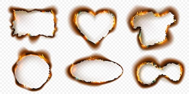 Frames van verbrand papier met verkoolde randen en vuurvlammen. realistische cirkel, rechthoek en hartvormige brandende as gescheurde gaten vector set. vernietigde of beschadigde pagina geïsoleerd op transparant