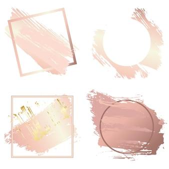 Frames voor valentijnsdag en kerstset. creatieve kunstkaders gemaakt met behulp van grunge-vlekken van goud en roze goud. kopieer de ruimte om uw tekst op te maken