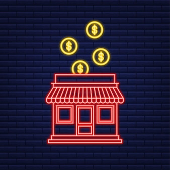 Franchise bedrijfsconcept, franchise marketingsysteem. neon-stijl. vector illustratie.