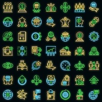 Franchise pictogrammen instellen. overzicht set franchise vector iconen neon kleur op zwart