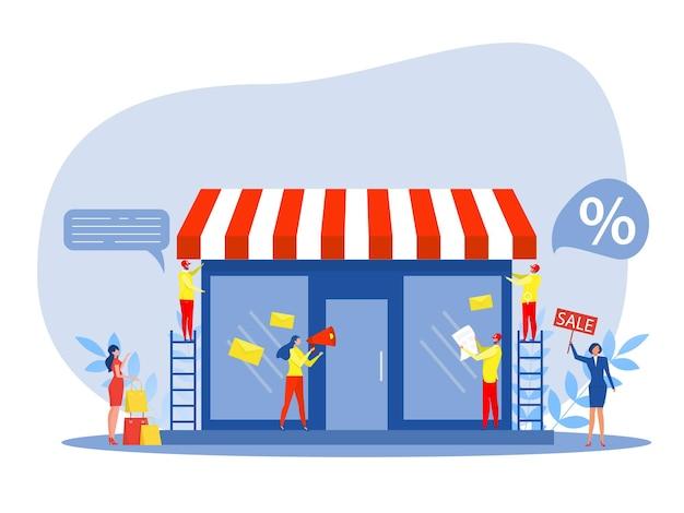 Franchise winkel bedrijf, mensen winkelen en start franchise kleine onderneming, bedrijf of winkel met thuiskantoor, vector illustrator