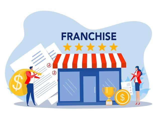 Franchisewinkelzakenmensen winkelen en start franchise small enterprise