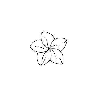 Frangipani-bloem in een trendy minimalistische voeringstijl. vector plumeria-bloemillustratie voor het afdrukken op t-shirt, webdesign, schoonheidssalons, posters, het creëren van een logo en patronen