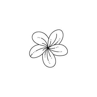 Frangipani-bloem in een trendy minimalistische voeringstijl. vector plumeria-bloemillustratie voor het afdrukken op t-shirt, webdesign, schoonheidssalons, posters, het maken van een logo en andere