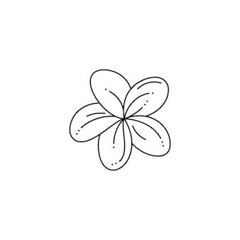 Frangipani-bloem in een trendy minimalistische voeringstijl. vector tropische plumeria bloem illustratie voor het afdrukken op t-shirt, webdesign, schoonheidssalons, posters, het creëren van een logo en andere