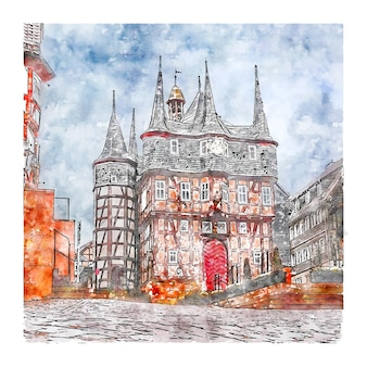 Frankenberg duitsland aquarel schets hand getrokken illustratie