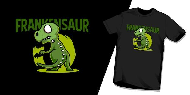 Frankensaur tshirt karakter ontwerpsjabloon
