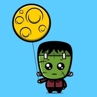 Frankenstein en maan karakters kawaii ontwerpen