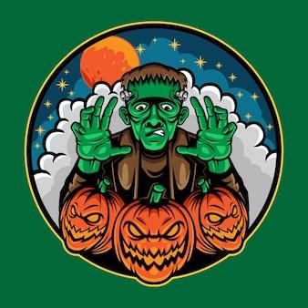 Frankenstein halloween-mascotteontwerpvector