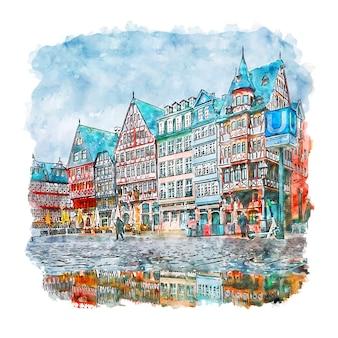 Frankfurt duitsland aquarel schets hand getrokken illustratie