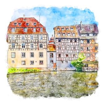 Frankreich frankrijk aquarel schets hand getekende illustratie