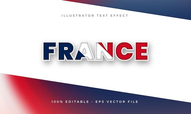 Frankrijk bewerkbaar teksteffect met franse vlagtextuur