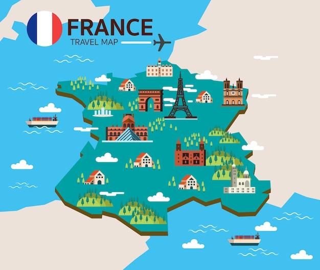 Frankrijk bezienswaardigheid en reiskaart. vlakke ontwerpelementen en pictogrammen. vector illustratie