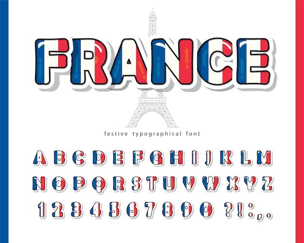 Frankrijk cartoon lettertype. franse nationale vlag kleuren.