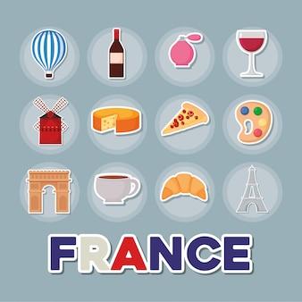 Frankrijk cultuur icon set