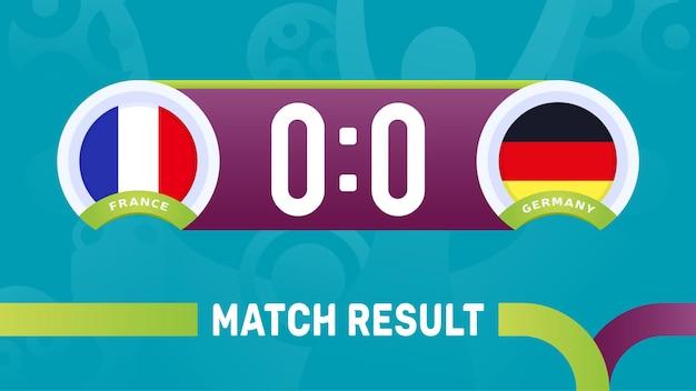 Frankrijk duitsland wedstrijdresultaat, europees voetbalkampioenschap 2020 illustratie.