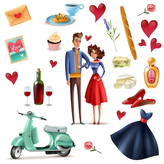 Frankrijk en parijs cartoon set