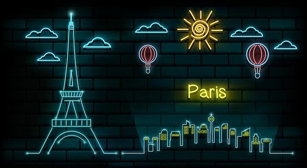 Frankrijk en parijs reizen en reis neonlicht achtergrond