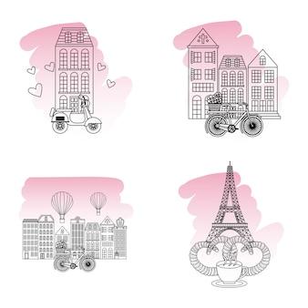 Frankrijk gebouwen motorfiets