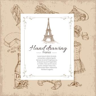 Frankrijk hand tekenen